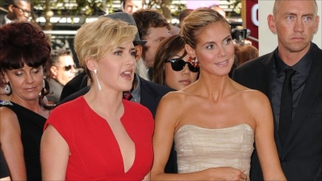 Kate Winslett and Heidi Klum arrive at the Emmy Awards