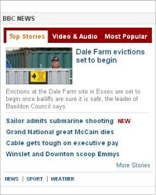 BBC News widget screenshot