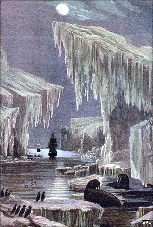 HMS Erebus and Terror depicted in the Northwest Passage