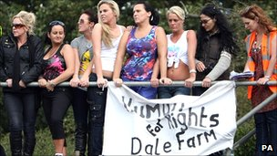 Travellers and campaigners at Dale Farm