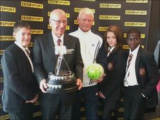 School Reporters meet Sir Bobby Charlton and BBC Unsung Hero 2010 John Jacobson
