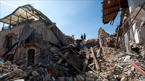 Earthquake damage in Onna, near L&#039;Aquila, Italy - 7 April 2009