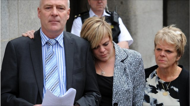 Bob and Sally Dowler, parents of murdered school girl Milly Dowler and her sister Gemma (centre)