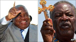 Left: Rupiah Banda; right: Michael Sata