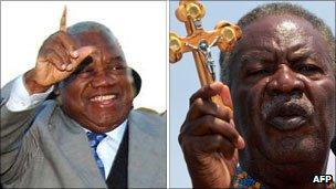Left: Rupiah Banda; right: Michael Sata