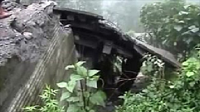 Earthquake damage in Sikkim State