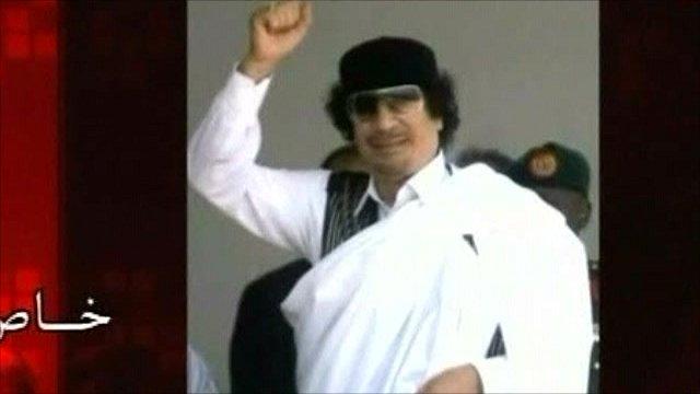 Colonel Muammar Gaddafi pictured in his broadcast