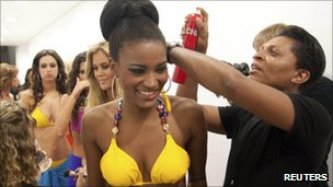 Miss Angola, Leila Lopes , (left) photographed on 12 September 2011
