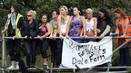 Travellers and supporters protest from a platform by the front gate at Dale Farm. (Chris Radburn/PA Wire)