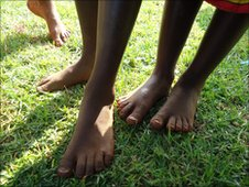 Children's bare feet