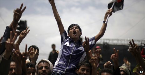 Anti-Saleh protesters in Sanaa, 11 September 2011