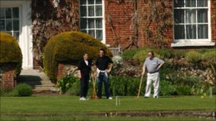 Lord Prescott playing croquet