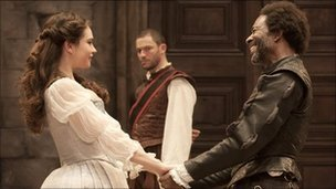 Lily James, Clarke Peters and Dominic West in Othello Photo: Johan Persson