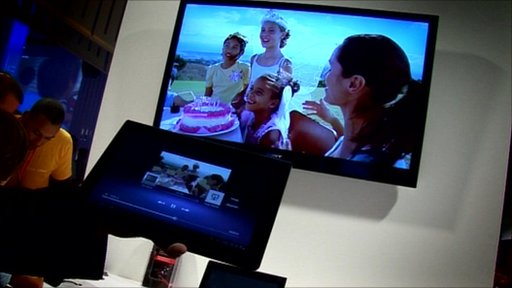"TV set showing content ""thrown"" from a tablet device"