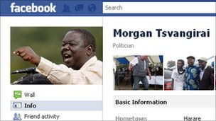 Screengrab from Morgan Tsvangirai's Facebook page