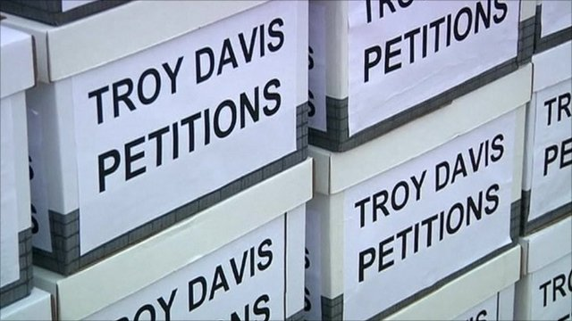 Boxes containing petitions for Troy Davis