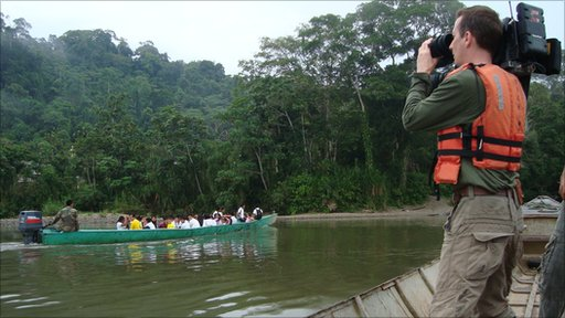 The school canoe in Ecuador's Amazon basin.