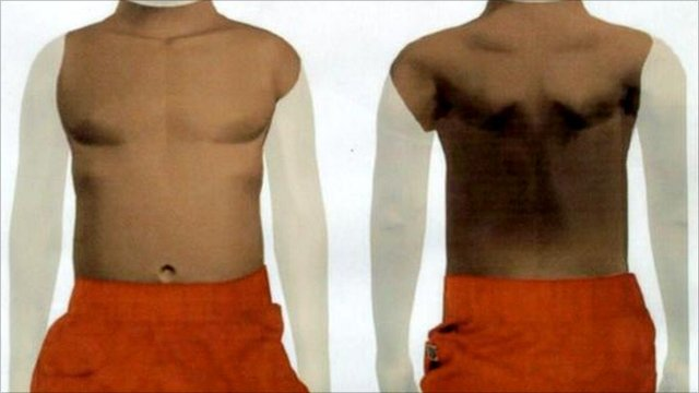 Graphics of the torso found in the river Thames