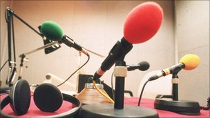 Microphones in radio studio