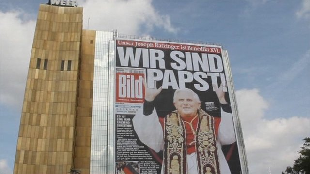 Picture of Pope Bendict on side of building