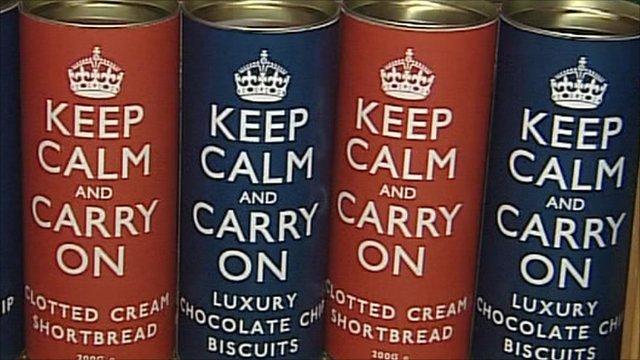 "Tins with ""Keep Calm"" phrase"