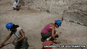 University of Southampton archaeologists at the ancient harbour of Portus, near Rome.