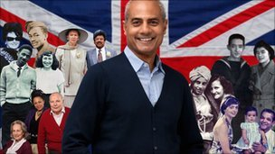 George Alagiah with a montage of families featured in the Mixed Britannia series