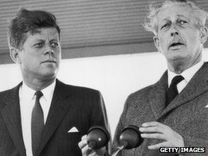 9th June 1963: US president John F Kennedy receives a public welcome from British prime minister Harold Macmillan