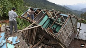 Destroyed house in Sikkim