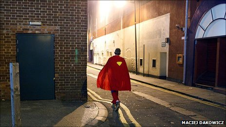 Cardiff reveller in super hero costume by Maciej Dakowicz