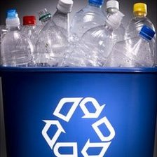 Bottles in a recycling bin