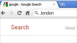 Mock up of the dot London domain name