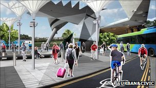 Artist's impression of transport hub at Alconbury development in Cambridgeshire