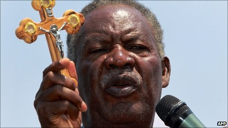 Zambia&#039;s newly elected President Michael Sata at a rally on 16 September