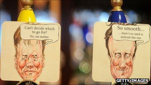 Caricatures of Nick Clegg and David Cameron