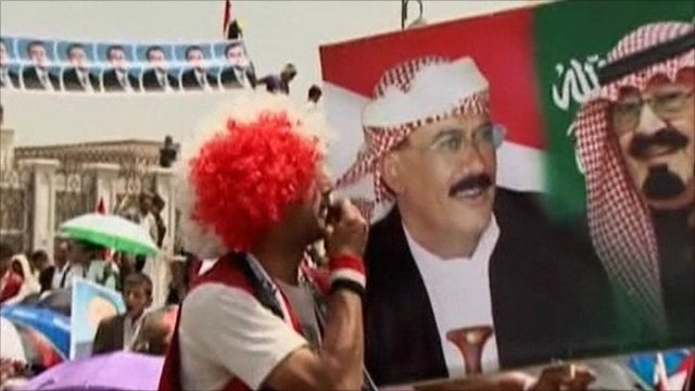 Supporters of President Saleh are celebrating his return to Yemen
