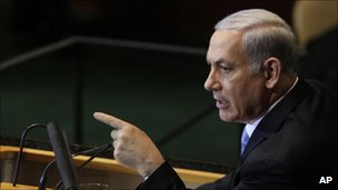 Israeli Prime Minister Benjamin Netanyahu speaks at the UN