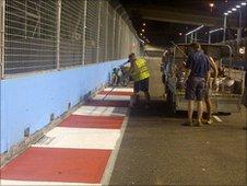 Track repairs at Singapore Grand Prix
