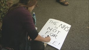 Campaigners gather in Stroud to protest against NHS Gloucestershire