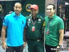 Ludacris in the Team Lotus garage
