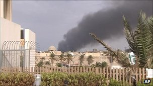 Plumes of smoke in Tripoli, 24 September