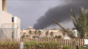 Plumes of smoke in Tripoli, 24 September