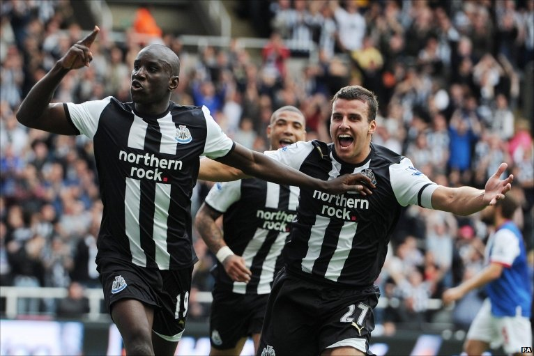 Newcastle's Demba Ba scores his second of the match