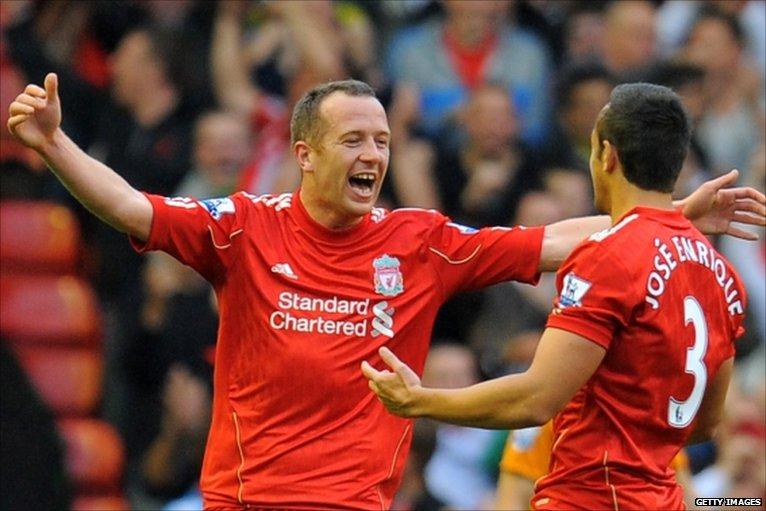 Charlie Adam celebrates Liverpool's Opener