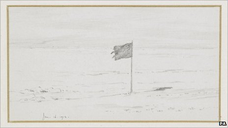 One of the drawings made during Captain Scott's ill-fated expedition to the Antarctic