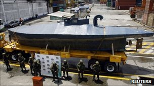 Seized submarine in Buenaventura. Photo: 24 September 2011