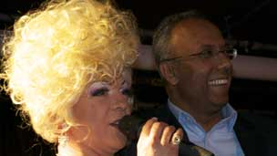 Mayor of Tower Hamlets Lutfur Rahman with drag queen Julie Paid