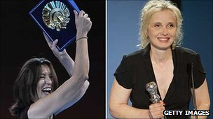 Luisa Matienzo, producer of winning film Los pasos dobles, and Julie Delpy