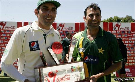 Pakistan captain Misbah-ul-Haq and batsman Younus Khan with the Test series trophy
