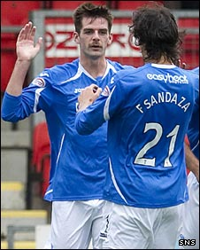 Cillian Sheridan and Francisco Sandaza celebrate